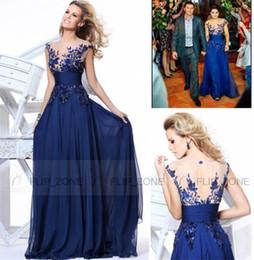 vestido de fiesta de gasa azul brillo Rebajas Encantador elegante 2016 nuevos vestidos de noche Sheer escote manga corta sin espalda apliques de gasa más tamaño 2016 fiesta de baile vestidos formales