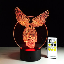 Wholesale Change Face Cartoon - Creative gift Eagle with Skull 3D illusion LED Lights Acrylic Panel 7 Colors change AA Battery Or USB 5V +remote controller