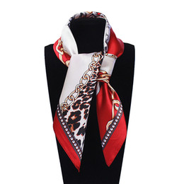 Wholesale Square Scarves Leopard Print - 60cm*60cm Women New Fashion Imitated Silk Metal Chain and Euro Sexy Leopard Printed Office Lady Square Scarf Hot Sale