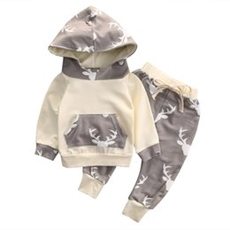 Wholesale Toddlers Boys Sports Clothes - Reindeer New Toddler Boys Clothing Children Boys Clothes Winter Autumn Sports Suit Kids girls Set Hoodies + Pants casual clothes