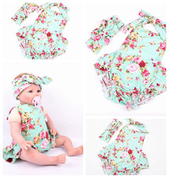 Wholesale Dress Girls New D - 2016 New Summer Baby headband Girls Dresses Romper plus headband combination Set flower Pattern Kids Girl Dress skirt have 3 style