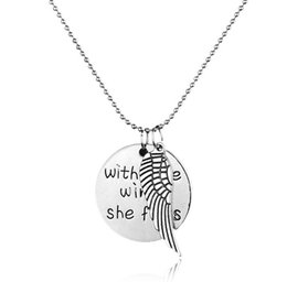 Wholesale brave jewelry - Classic fashion female wish brave wings flies wings necklace Pendant 2016 new European and American popular jewelry alloy new