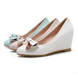 Wholesale White Large Size Wedding Shoes - free shipping 2016 fashion pumps women high heels shoes with bow-knot single shoes wedges wedding Dress shoes M-5 large size blue pink white