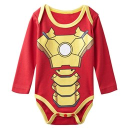 Wholesale Halloween Costumes Men Funny - Baby Boys' Iron Man Funny Costume Bodysuit Infant Long Sleeve Onesie