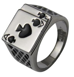 Wholesale Poker Designs - Unique Design Platinum Plated Cool Black Enamel Poker Men Ring Men's Jewelry Women Ring Fasion Accessory Size 7,8,9,10,11,12