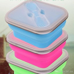 Wholesale Korean Containers - New 2017 Silicone Collapsible Portable Healthy Lunch Bowl Boxes Folding Food Storage Container Lunchbox Eco-Friendly Color Random