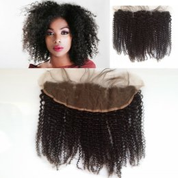 Wholesale wholesale lace frontals - Peruvian Kinky Curly Lace Frontal Closure Cheap Virgin Human Hair Ear to Ear Lace Frontals G-EASY