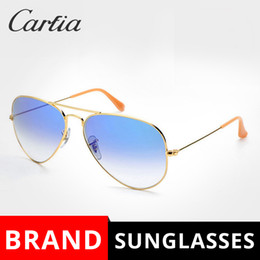Wholesale Pilot Fashion - Metal Sunglasses Gradient Gray Blue red sunglasses pilot Style glass Sun Glasse oculos de sol FEMININO UV400 Men Women Sunglasses 58mm 62mm
