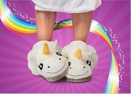 Wholesale Despicable Minions Plush Slippers - 2016 Cotton Plush Unicorn Slippers For Grown Ups Cosplay Chinelo Dreamy White Despicable Me 3 Minions Indoor Slipper For Adult