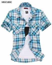 Wholesale Wholesale Plaid Shirts For Men - Wholesale- MIXCUBIC 2016 spring summer short-sleeved printed grid shirts men casual slim fit plaid shirts for men Camiseta M-2XL 5040