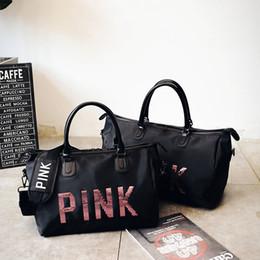 Wholesale Love Pink Large - Canvas Storage Bag organizer Large love Pink Men Women Travel Bag Waterproof Casual Beach Exercise Luggage Bags