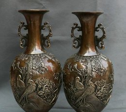 "Wholesale Antique China Marks - Details about 12"" Marked Antique China Dynasty Bronze Tree Flower Bird Magpie Bottle Vase Pair"