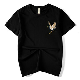 Été nouvelle marque de marée style chinois rétro national vent coton broderie à manches courtes grue à manches courtes T-shirt mâle lâche ? partir de fabricateur