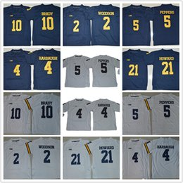 Wholesale Charles Red - Youth Michigan Wolverines Jerseys Kids Jim Harbaugh Tom Desmond Howard 21 Charles Woodson 2 Jabrill Peppers Brady College football jerseys
