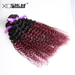 Wholesale Cheap Good Remy Hair - Queen weave beauty 7a brazilian human hair kinky curly hair weaves burgundy Ombre good cheap virgin hair 30inch deep curly hair bundles