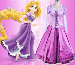Wholesale Evening Long Dresses Xxl - Adult Rapunzel cosplay costume princess Tangled Sofia dress Halloween Costume for women long Carnival Evening party dresses girl