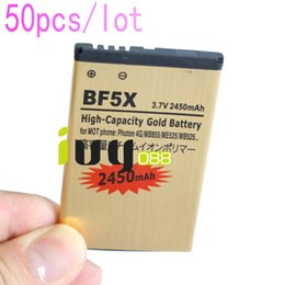 Wholesale Defy Battery Bf5x - 50pcs lot 2450mAh BF5X Gold Replacement Battery For Motorola Photon 4G MB855 ME525 MB525 Bravo MB520 ME863 XT532 xt883 Defy mini Batteries