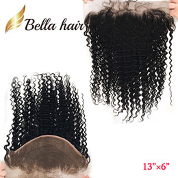 Wholesale Big Wave Hair - 13*6 inch Ear to Ear Lace Frontal Closure Brazilian Deep Wave Unprocessed Virgin Human Hair 13inch 6inch Big Lace Closure BellaHair