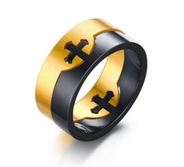 Wholesale Broken Rings - European and American fashion accessories stainless steel cross rings personality can be broken up to act as men R - 003