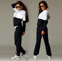 2019 costumes de jogging en coton pour femmes Causal Sport Suits Femmes Hoodies Sweat ensembles de course Survêtements Coton Jogging Sportwear 3 couleurs livraison gratuite costumes de jogging en coton pour femmes pas cher