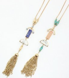 Wholesale Multi Stone Jewelry - Multi semi stones tassel pendant necklace natural stone mosaic jewelry long tassel luxurious roll bead necklace horn delicate design