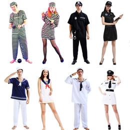 Wholesale Pink Sailor Costumes - Fashion Prisoner Costume Sailor Costume Adult Halloween Carnival Costumes Fantasia Fancy Dress Theme Party Supplies Gift