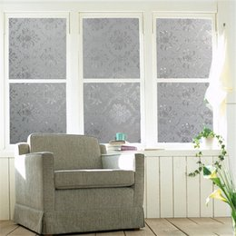 Wholesale Privacy Glass Bathroom - No Glue Static Cling Frosted Glass Window Film Decoration Applique Bathroom WC Office Window Door Privacy PVC Flowers Art Decor 45CM Width