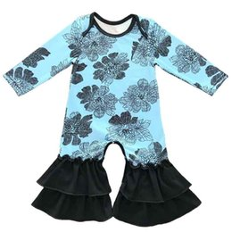 Wholesale High Neck Baby Bodysuit - Cute Girls Jumpsuit Autumn Winter High Quality Pajama Romper Floral Printed Baby Girls Bodysuit Hot Sales Kids Clothing