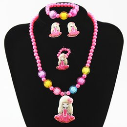Wholesale Jewellery Chunky Necklaces Wholesale - Fashion princess jewellery set girl chunky necklace bracelet Snow White christmas gift childrens jewelry baby pearl bubblegum beads