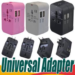 Wholesale World Usb Travel Plug Adaptor - All in One Universal International Plug Adapter Dual USB Port World Travel AC Power Charger Adaptor with AU US UK EU converter Plug