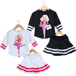 Wholesale Wholesale Girls T Shirt Dresses - Girls T-shirt Dress Two-piece Clothing Sets Printed Cartoon Pyrography Xylopyrography Toddler Girls Skirts Tee Shirt 100-150cm 2-8T