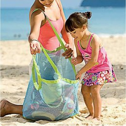 Wholesale Wholesale Mesh Bag - Children Baby Outdoor Beach Sandy Toy Clothes Towel Collecting Bags Shoulder Bags Large Space Mesh Bags Handbag Totes Wholesale 2507004