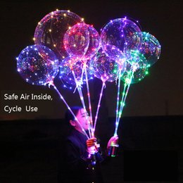 Wholesale Cheap Wholesale Balloons - Cheap And Safe Air LED Balloon 3 Meters Luminous Led Transparent Balloon Flashing 4 Colors Luminous Balloons with 70cm Pole