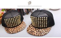 Wholesale Studded Hip Hop Hat - Hip Hop Hat Rivets Studded Dance Hat Leopard Snapback Cap Mens Womens Performance Baseball Cap
