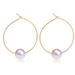 Wholesale Pearl Loop - Wholesale- Simple Simulated Pearl Round Circle Hoop Earrings For Women Gold Silver Plated Loop Earring Female Ear Jewelry Accessories