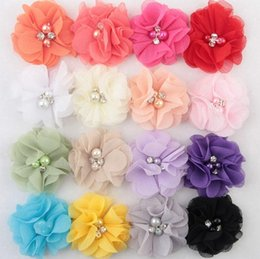 Wholesale Lace Accessories Fabric - Chiffon Flowers With Pearl Rhinestone Center Artificial Flower Fabric Flowers Children Hair Accessories Baby Headbands Flower
