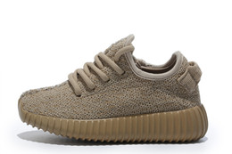 Wholesale Kids Cheap Running Shoes - cheap youth oxford tan 350 boost eur size 28-35 Free Shipping 2016 Kanye west oxford tan Boost 350 hot Running kids Fashion Sneaker Shoes