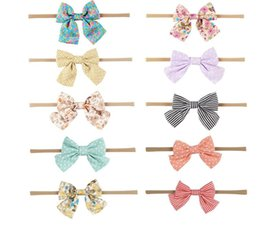 Wholesale Head Ribbons For Baby Girls - Handmade Boutique Nylon Headband with Fabric Bow for Baby Girls Hair Accessories Hair Flowers Head Band