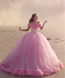 Wholesale Corset Ruffle Prom Dress - 2016 Quinceanera Dresses Baby Pink Ball Gowns Off the Shoulder Corset Hot Selling Sweet 16 Prom Dresses with Hand Made Flowers