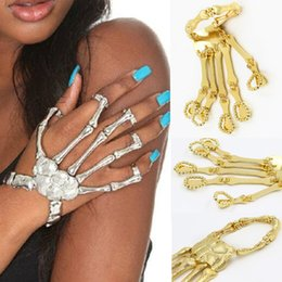 Wholesale Talon Hand Bracelet - Halloween Punk Rock Ring Bracelet Skeleton Hand Bone Talon Claw Skull Bracelet Cuff Finger Silver Gold Colors