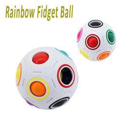 Wholesale Brain Toys - Rainbow Fidget Ball Challenging Puzzle Ball Fun Sphere Speed Cube EDC Novelty Fidget Football Brain Teasers Educational Toys newest OTH542