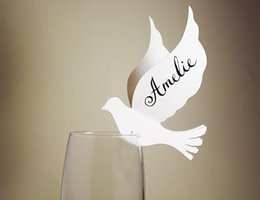 Wholesale Dove Baby Shower - Dove love bird Wine Glass markers place cards Wedding birthday bridal baby shower Party Decorations table name number card
