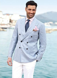 Wholesale Groom Suits For Beach Wedding - Wholesale-Light Blue Double Breasted Blazer White Pants Groom Tuxedos For Beach Wedding Linen Mens Prom Dinner Party Suits Custom Made