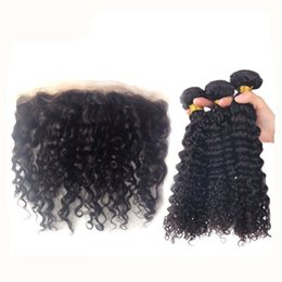 Wholesale Brazilian Knot Hair Extension - Deep Curly Hair Bundles With Lace Frontal 4pcs lot Blenched Knot Ear To Ear Full Lace Frontal With Hair Weaves Unprocessed Extensions