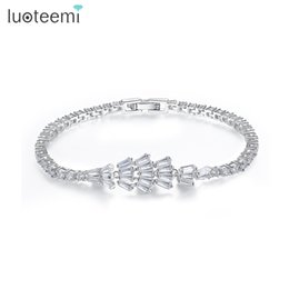 Wholesale Bridal Chain Jewellery - LUOTEEMI Outstanding White Gold-Color Bridal Gift Clear Cubic Zirconia Women Bracelet Bangle For Wedding Party Jewellery