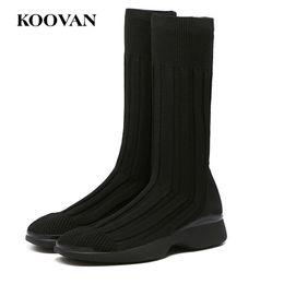 Wholesale korean men fashion black boots - Fashion Boots Half Boots Knitting Sock Boots Flat Heel 2017 Koovan Women Man Korean High Quality Free Ship W179