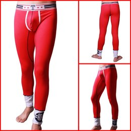 Wholesale Wear Pants Penis - Wholesale-Mens Long Pants Trousers Tight Sleep Bottoms Brand Home Wear Sexy Men Penis Sport Gay Pouch Long John Pants High Stretch Pants