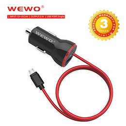 Wholesale Iphone Cable Au - WEWO Smallest Single USB Car Charger Fast Travel Charger Adapter Plug 2.1A with IOS and Micro USB Cable with Retail Box