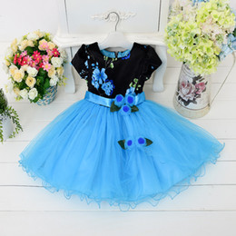 Wholesale Kids Bridesmaid Dresses Short - New Girls Dress Flower Sash Sleeveless Formal Party Wedding Bridesmaid Celebration Kids Clothes Flower Girl Dress