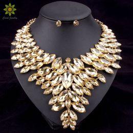 conjuntos de jóias de pérolas de platina Desconto 6 cores africano talão conjuntos de jóias colar de casamento das mulheres conjunto de jóias banhado a ouro colar de cristal e brincos